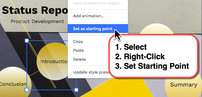 Changing the Prezi starting point with the short-cut menu