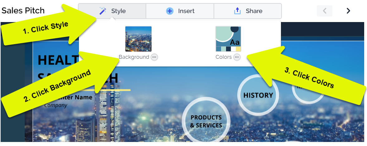 make a prezi look good with the style menu