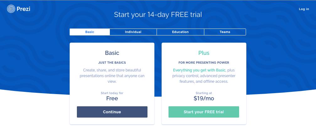 webpage for free prezi account