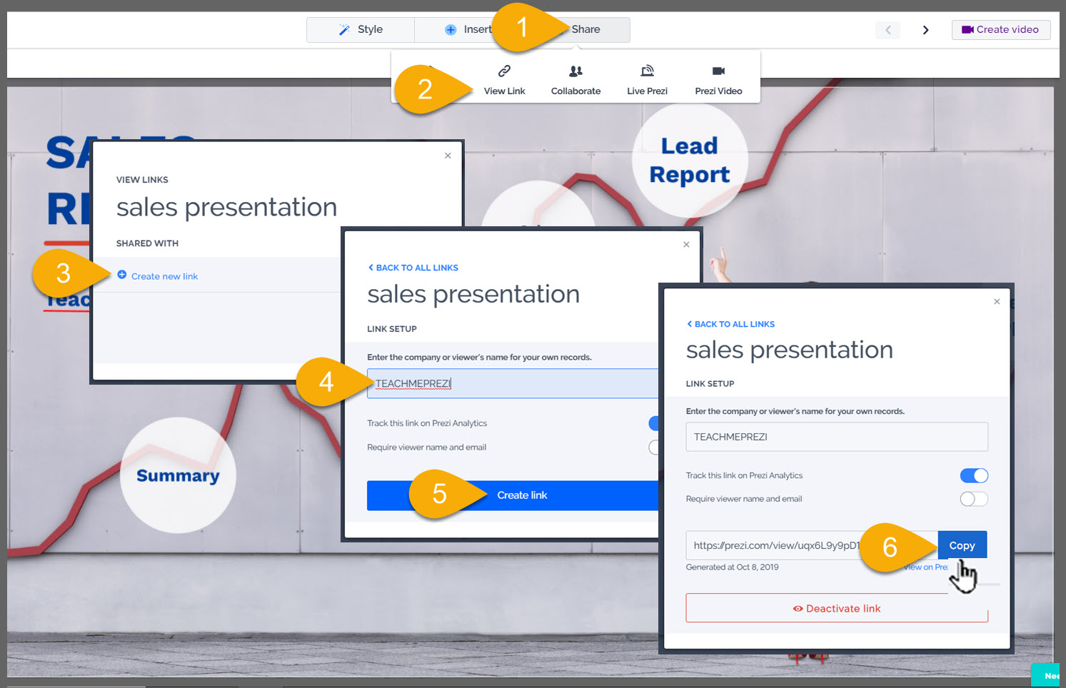 share link to convert prezi to video