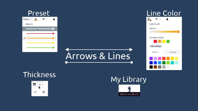 Arrows and lines options